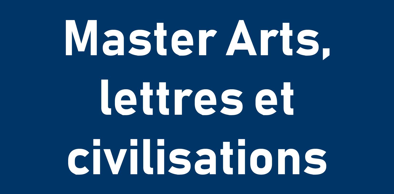 Master Arts lettres et civilisations