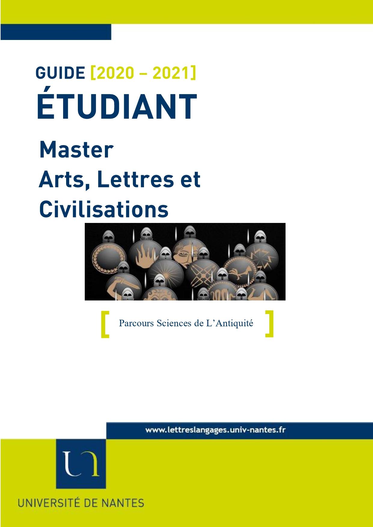 Master Arts lettres et civilisation